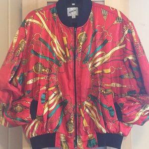 Jackets & Blazers - Rare Vtg All Over Print Silk Bomber Jacket